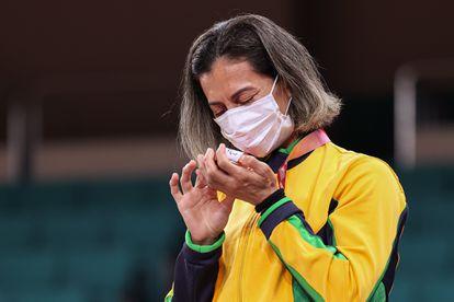A judoca Lúcia Araújo, que conquistou um bronze na categoria 57Kg para atletas com deficiência visual nos Jogos Paralímpicos de Tóquio.