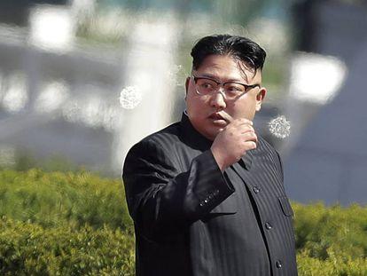 O líder norte-coreano, Kim Jong-un, na quinta-feira, 13 de abril, em Pyongyang.