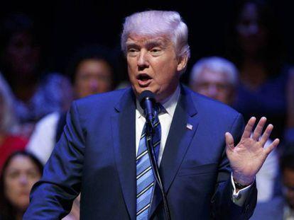 O candidato republicano, Donald Trump, nesta quinta-feira em Portland.