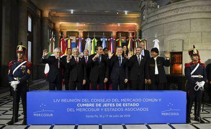 Os presidentes do Mercosul e de seus dois países associados, Chile e Bolívia.
