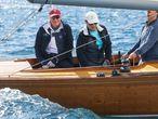 El rey Juan Carlos en un entrenamiento de la flota 6mR hace dos años en Sanxenxo.