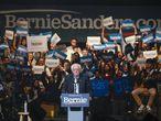 Bernie Sanders, en un acto de campaña en Cedar Rapids (Iowa).