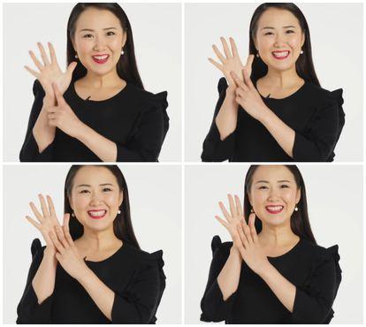 No Japão, assim se mostram os números de 6 a 9 com as mãos.