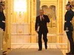 El presidente ruso Vladimir Putin, antes de su discurso del estado de la nación en el palacio del Kremlin, este jueves en Moscú.