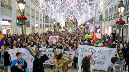 Protesto em Málaga contra a ascensão do partido de extrema-direita Vox