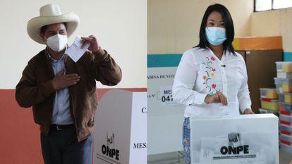 O professor rural Pedro Castillo e a conversadora Keiko Fujimori votam neste domingo.