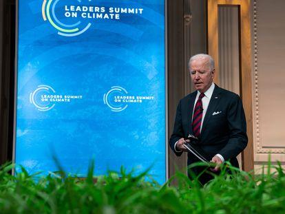 O presidente Joe Biden durante a abertura da cúpula virtual de líderes que convocou para os dias 22 e 23 de abril.
