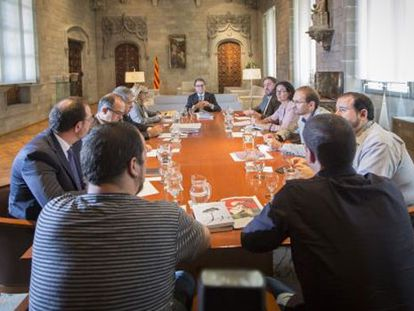 Inicio da reunião no Palau de la Generalitat.