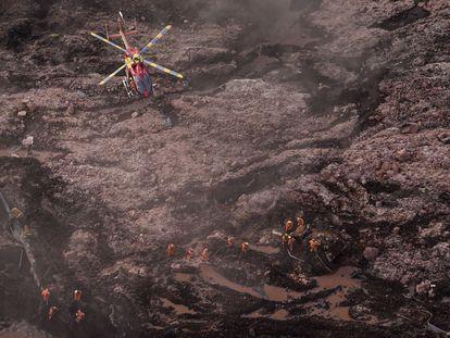 Imagem do dia 25 de janeiro de 2019 após o rompimento da barragem do Córrego do Feijão, em Brumadinho.