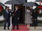 Donald y Melania Trump con el presidente de Guatemala, Jimmy Morales y su mujer, Patricia Marroquín, este martes.
