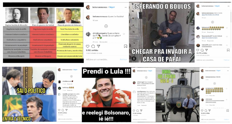 Exemplos de memes criados pela página administrada por Tércio Arnaud, conforme o Laboratório Forense Digital do Atlantic Council.