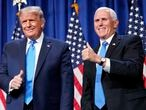 President Donald Trump and Vice President Mike Pence stand on stage during the first day of the 2020 Republican National Convention in Charlotte, N.C., Monday, Aug. 24, 2020. (AP Photo/Andrew Harnik)
