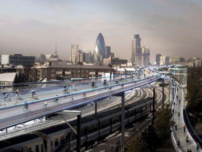 SkyCicle seguiria o traçado de uma linha de metrô de superfície.
