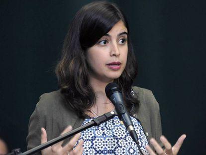 A deputada Tabata Amaral, de 25 anos e graduada em Harvard, em uma foto de março.