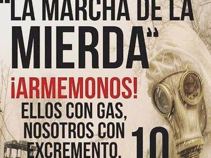 Cartaz do protesto que propõe lançar excrementos contra polícia.