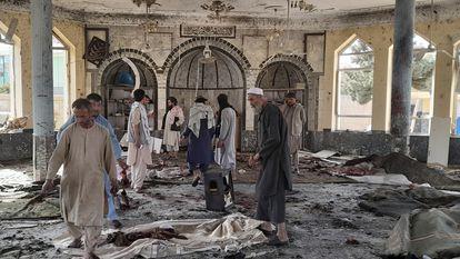 Interior da mesquita onde ocorreu o atentado desta sexta-feira.