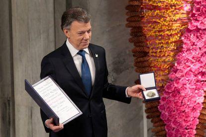 Santos após receber o Nobel da Paz em 2016.