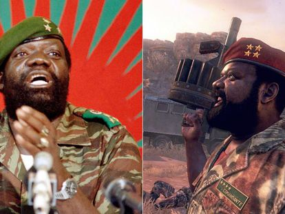 O rebelde angolano Jonas Savimbi e seu personagem no game.