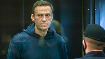 Alexei Navalny durante audiência no Tribunal Municipal de Moscou, no início de fevereiro.
