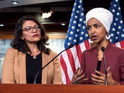 As congressistas Rashida Tlaib e Ilhan Omar, em julho.