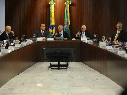 A primeira reunião ministerial de Temer.
