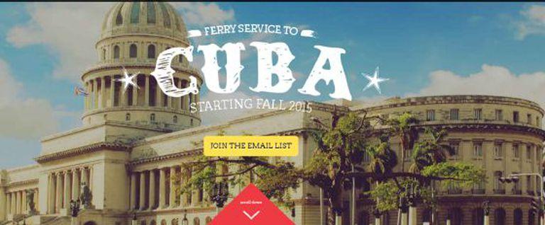 Captura de tela da agência que oferece uma viagem de ferry para Cuba.