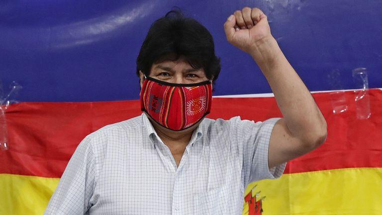 O ex-presidente da Bolívia Evo Morales, durante em ato na Argentina no início de outubro