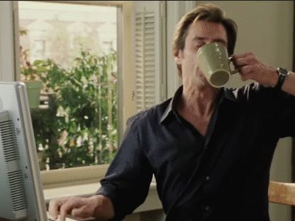 Jim Carrey se esforçando em 'Todo Poderoso'