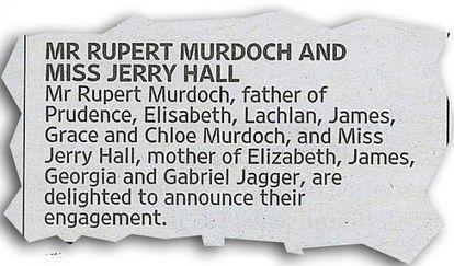 O anúncio do noivado no 'The Times'.