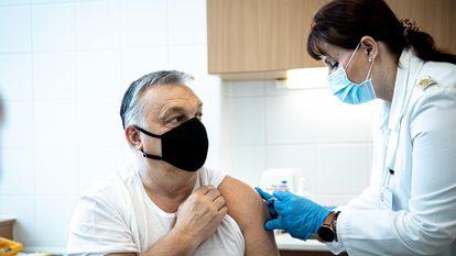 O primeiro-ministro húngaro, Viktor Orbán, recebe em fevereiro a vacina anticovid desenvolvida pela Sinopharm.