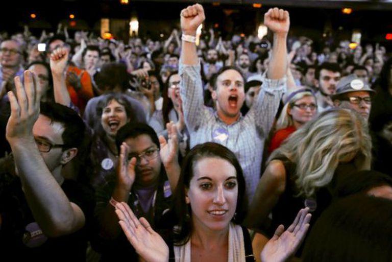 Simpatizantes de Sanders no comício em Hollywood, na quarta-feira.