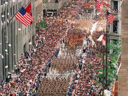 Veteranos da Guerra do Golfo marcham em Nova York.