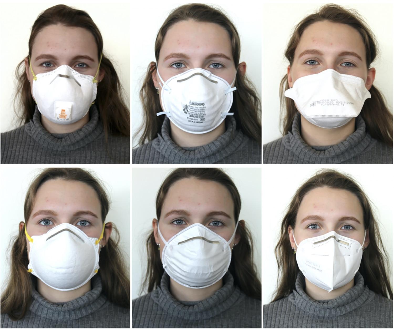 Diferentes tipos de máscara usados no estudo.