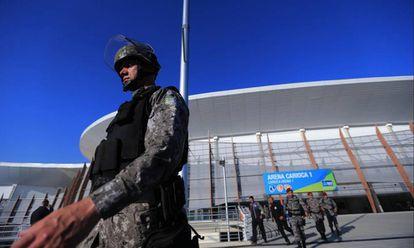Integrante da Força Nacional em instalação Olímpica no Rio.