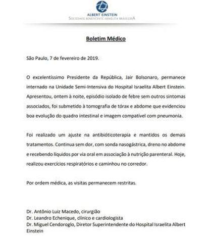 Boletim médico de Bolsonaro.