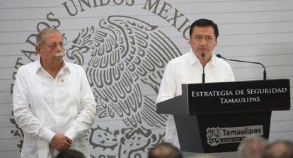 O governador de Tamaulipas (à esq.) e o ministro de Governo.