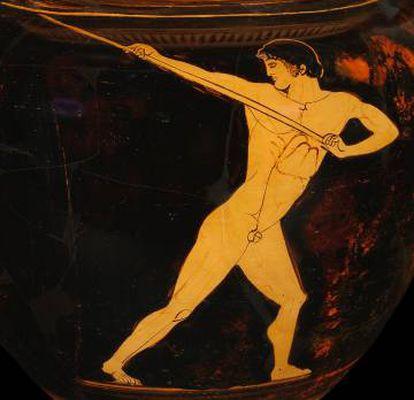 Desenhos de um vaso da antiga Grécia, do Museu Olímpico de Lausanne.