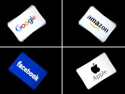 Os logotipos das quatro grandes companhias tecnológicas.
