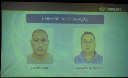 Polícia Civil expõe imagens de suspeitos no caso Marielle Franco no Rio de Janeiro.