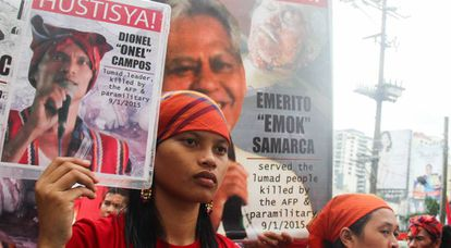 Protesto pelo assassinato de ecologistas em Mindanao, Filipinas.