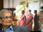 FILE - In this Monday, May 4, 2015 file photo, Nobel laureate Dr. Amartya Sen, Professor of Economics and Philosophy at Harvard University, listens to a colleague's remarks during the launch of the FXBVillage Toolkit and Planning Guide , in Cambridge, Mass. Sen, the economist who studied the causes of famines, will be recognized with this year's Princess of Asturias award in the Social Sciences category, it was announced Wednesday, May 26, 2021. The 87-year-old economist and philosopher has devoted his career to studying poverty and theories of human development. (Gretchen Ertl/AP Images for FXB, file)