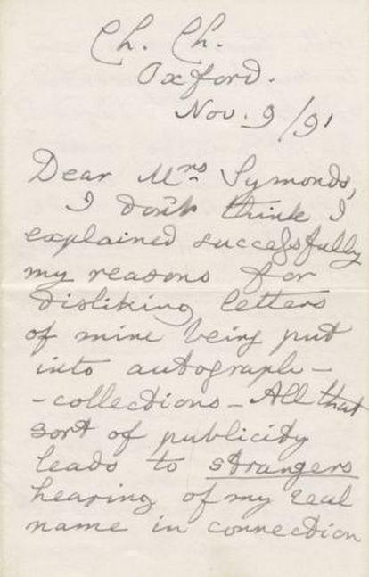 Primeira página da carta do escritor leiloada pela Bonhams.