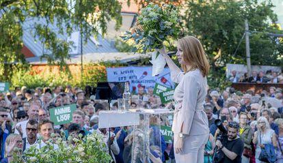 Annie Lööf durante um comício no ano passado em Almedalen.