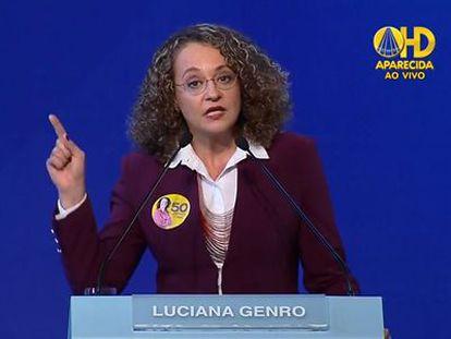 Luciana Genro, durante o debate promovido pela CNBB.