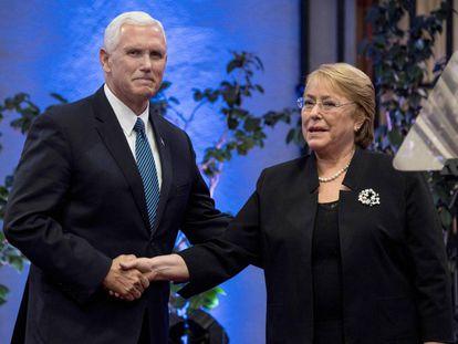 Pence e Bachelet na quarta-feira, dia 15, em Santiago do Chile