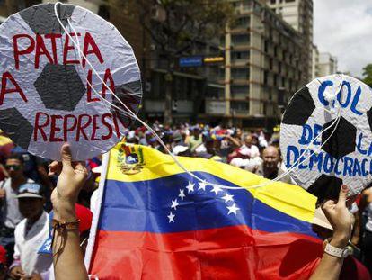 Protesto contra o governo em 24 de junho em Caracas.