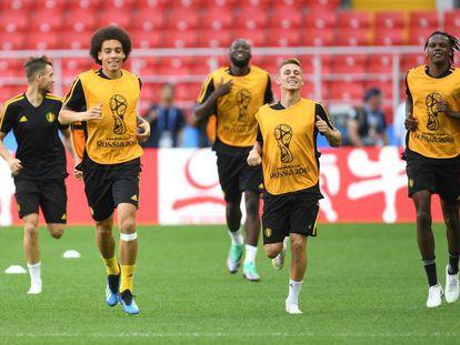 Os belgas treinam para a partida deste sábado.
