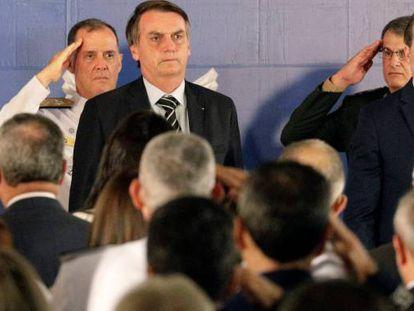 Jair Bolsonaro durante a posse do general Fernando Azevedo e Silva como ministro da Defesa.
