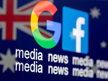 Os logotipos do Google e Facebook sobre a bandeira da Austrália.