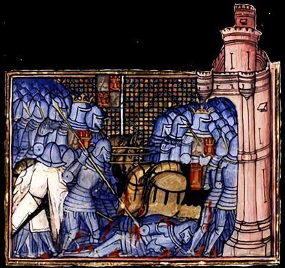 Miniatura medieval da Batalha de Montiel com as tropas de Pedro I se refugiando no castelo.